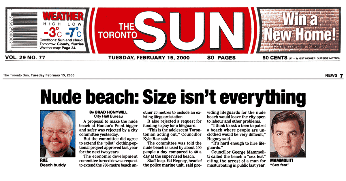 Toronto Sun 2000-02-15 - Committee OKs renewing Hanlan's Point CO-zone